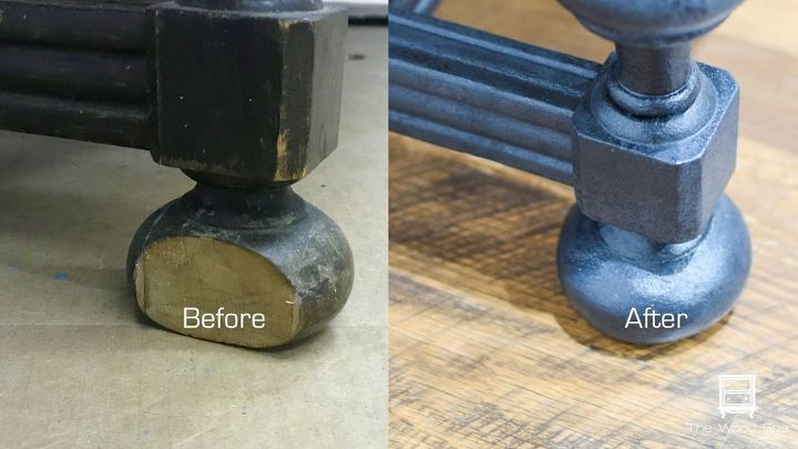 fixing furniture broken foot with mold putty and wood filler