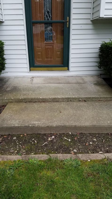 q how to decoratively cover a large cement stoop