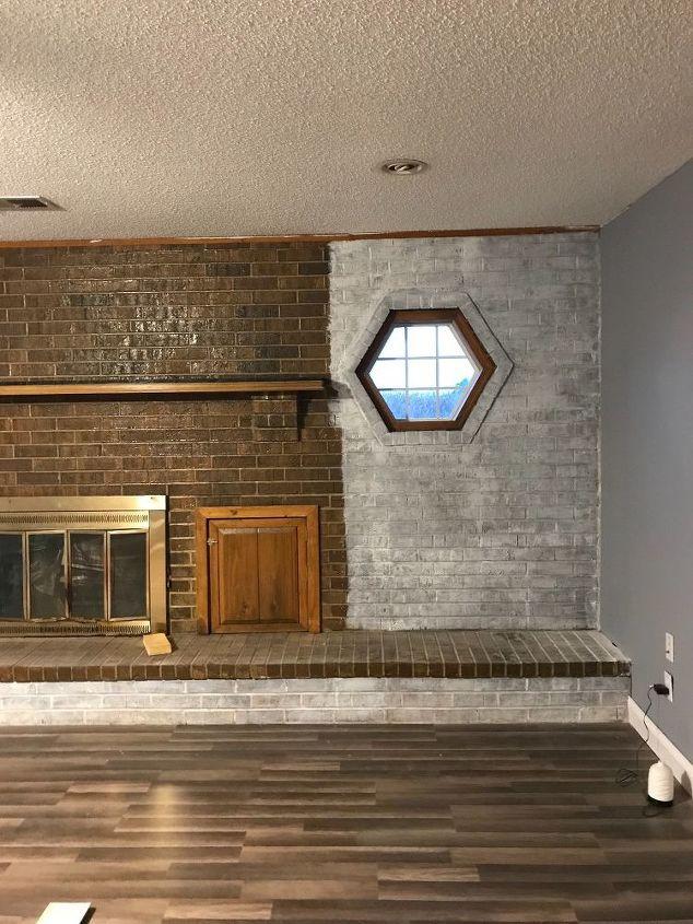 Whitewash Brick Fireplace Chalk Paint Accents Hometalk