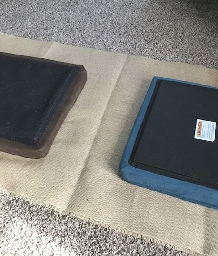 faux suede foot stool makeover