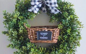 DIY Indoor Boxwood Wreath With Key Holder Basket