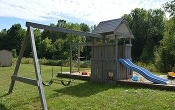 before and after swing set makeover