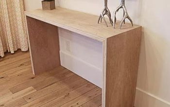 diy plywood waterfall console table