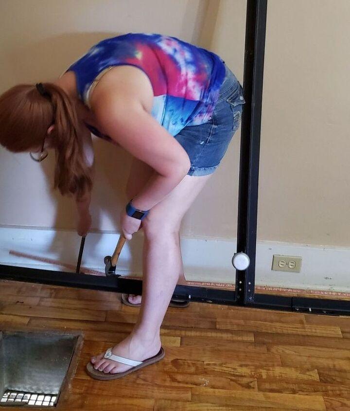 goodbye old carpet hello wood floors