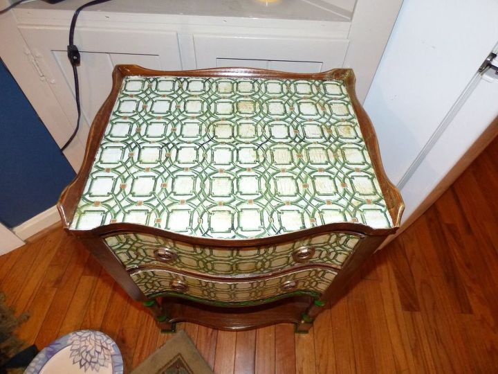 cute little side table with decoupage napkins