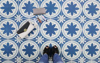 how to update your old floor using tile stencils