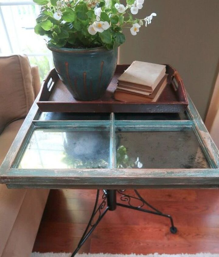 vintage window and thrift store legs side table