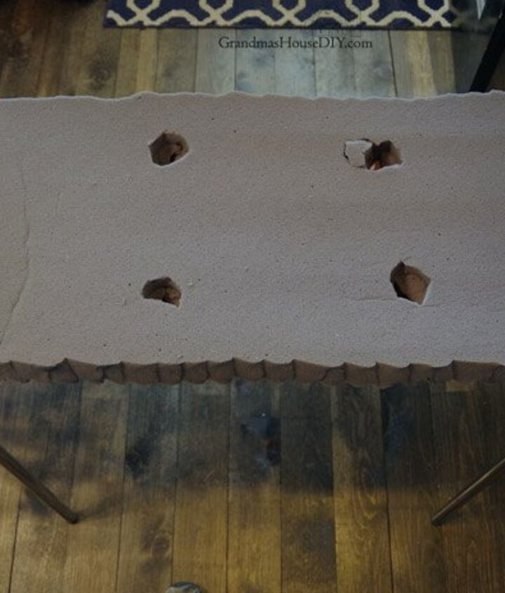 refinishing a bench and how to make a no sew tufted cushion