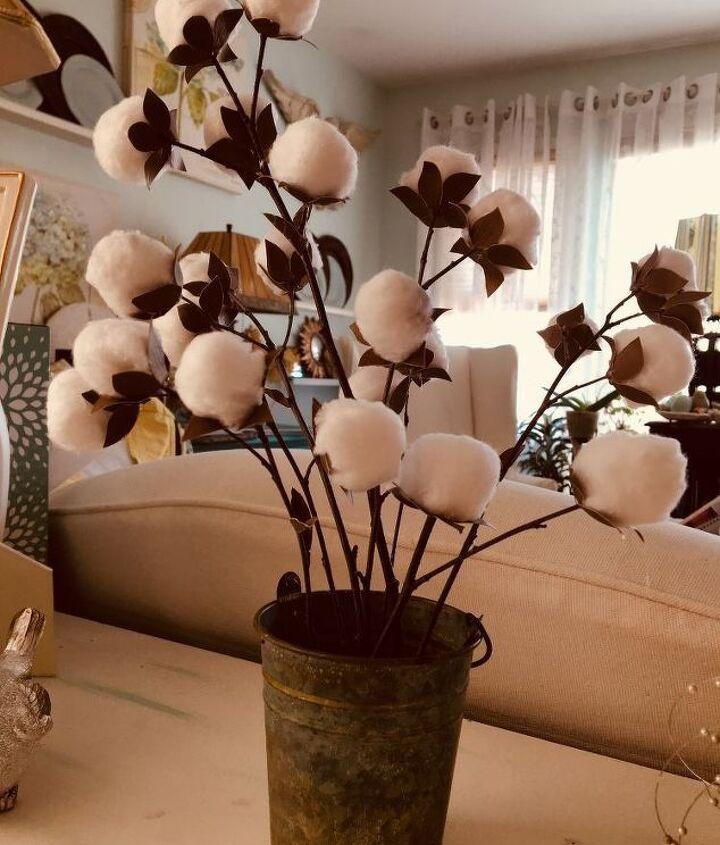 finally faux cotton plant arrangement
