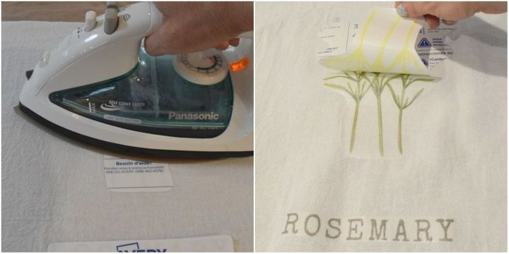 easy transfer to fabric technique diy kitchen herb towels