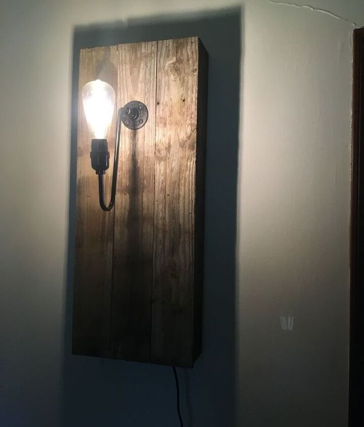 rustic wood wall lamp