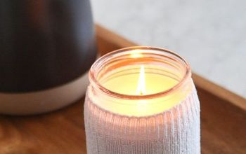 how to hide ugly candle labels using a sock
