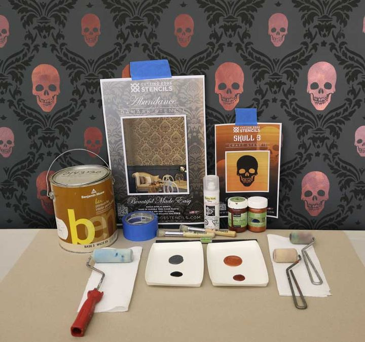 how to stencil a spooky skull damask wall