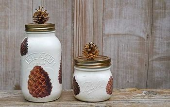 unique fall mason jars with pinecones