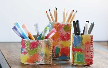colourful upcycled faux leather pen pots