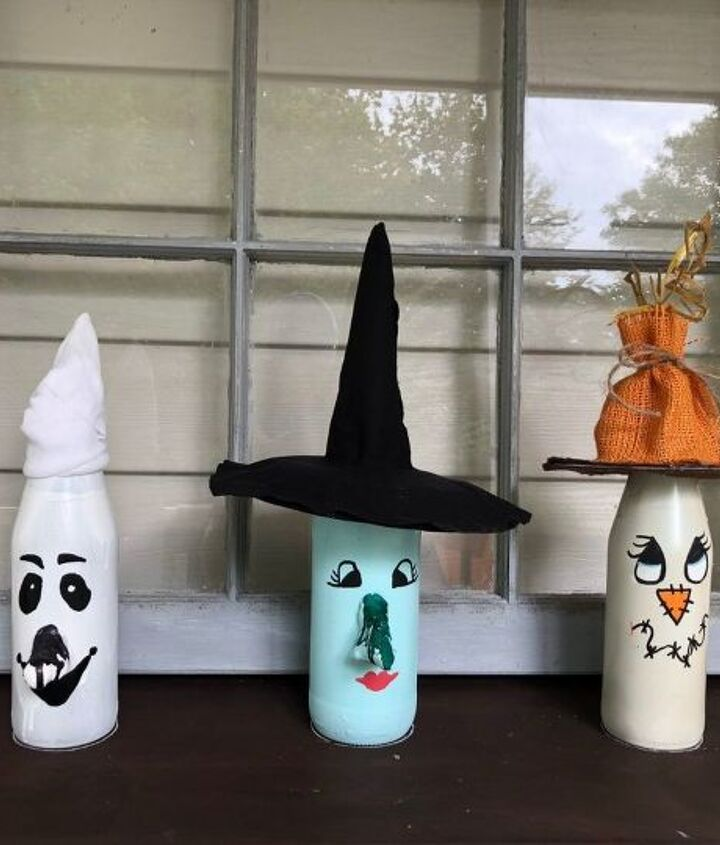 recyling glass bottles into halloween decor part 2