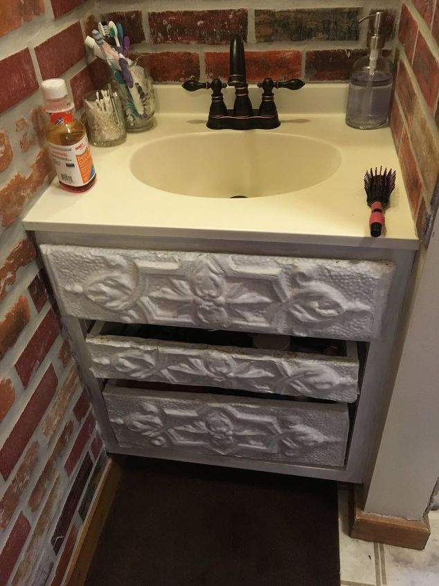 q how to refinish a bathroom vanity