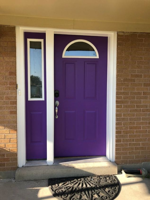I Repainted The Trim White With A Coats Of Outdoor Paint And It Is Whole New Door Purple Dream