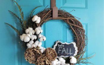 diy cotton stem fall wreath