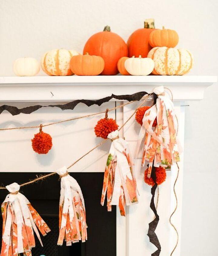 yarn pom pom pumpkin garland