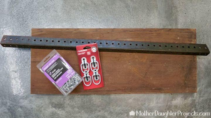 rustic hanging industrial chain shelf