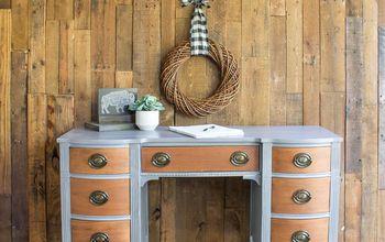 driftwood vanity desk makeover