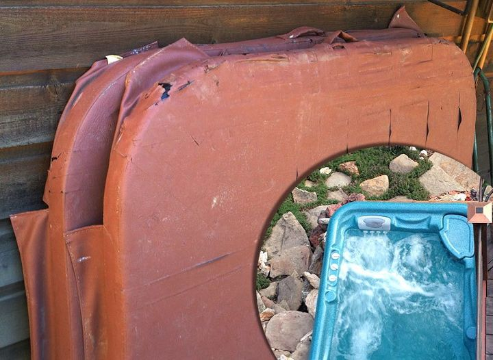 diy rollable cedar hot tub spa cover, Cover for my tub hell no