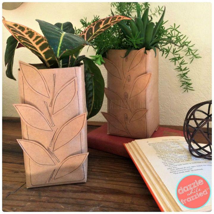 Brown paper bag autumn leaf vase.
