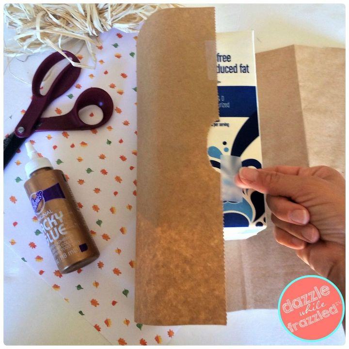 Wrap milk carton with brown paper grocery bag
