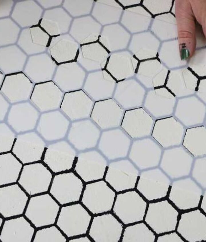 how to stencil a personalized tile floor