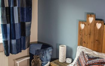 recycled denim tab top curtains