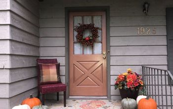 Fall Front Porch With Copper and Cranberry Accents