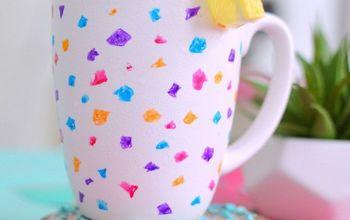 diy terrazzo painted mug