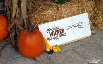 """Something Wicked This Way Comes"" Wooden Sign for Halloween Decor!"