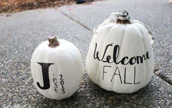 transform your thrift store foam pumpkins into white pumpkin decors