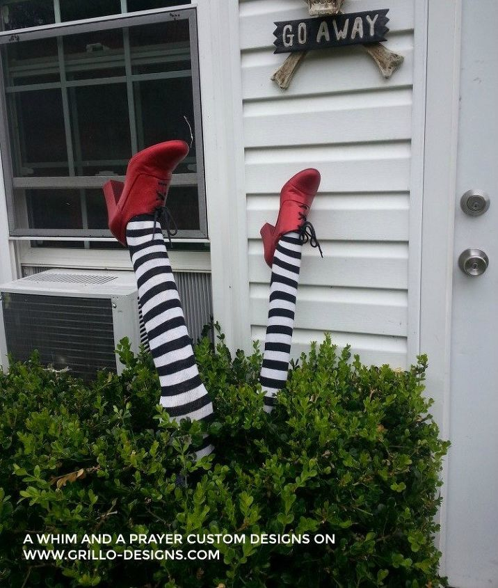 s 17 halloween decorations that ll make your neighbors giggle, DIY WICKED WITCH LEGS
