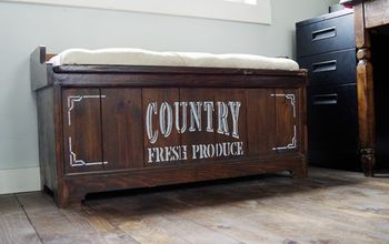 how i added a country fresh produce stencil to my old bench