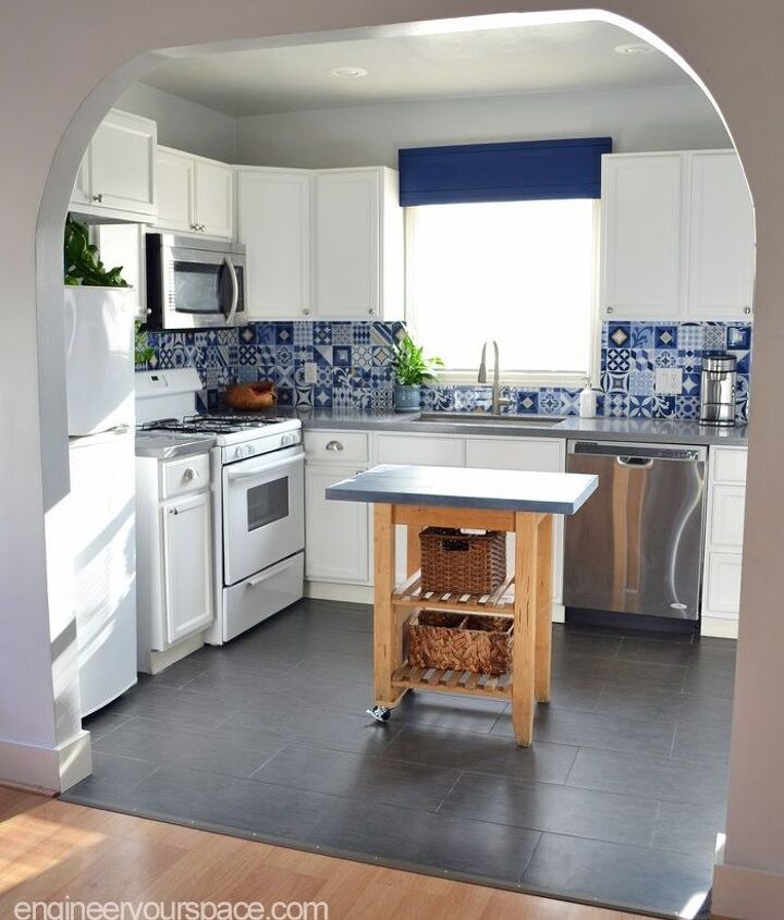 adding color to a kitchen with a diy window valence or cornice