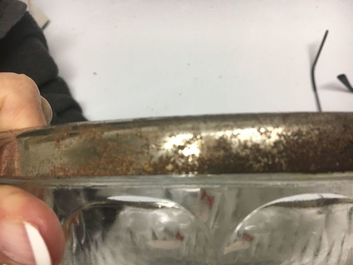q how to remove rust on a silver plated rim on a cut glass bowl