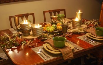 Thanksgiving Table With Wood and Pewter