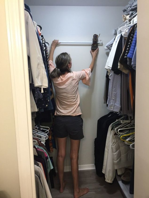 small closet organization ideas with curtain rods