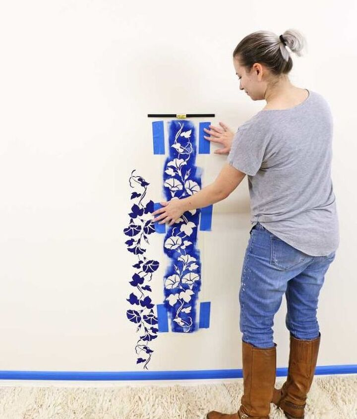 diy floral accent wall with stencils