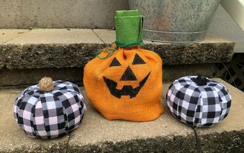 handmade halloween buffalo check pumpkins