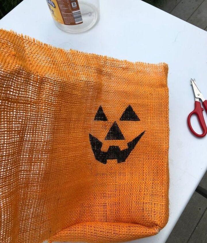 handmade halloween burlap jack o lantern