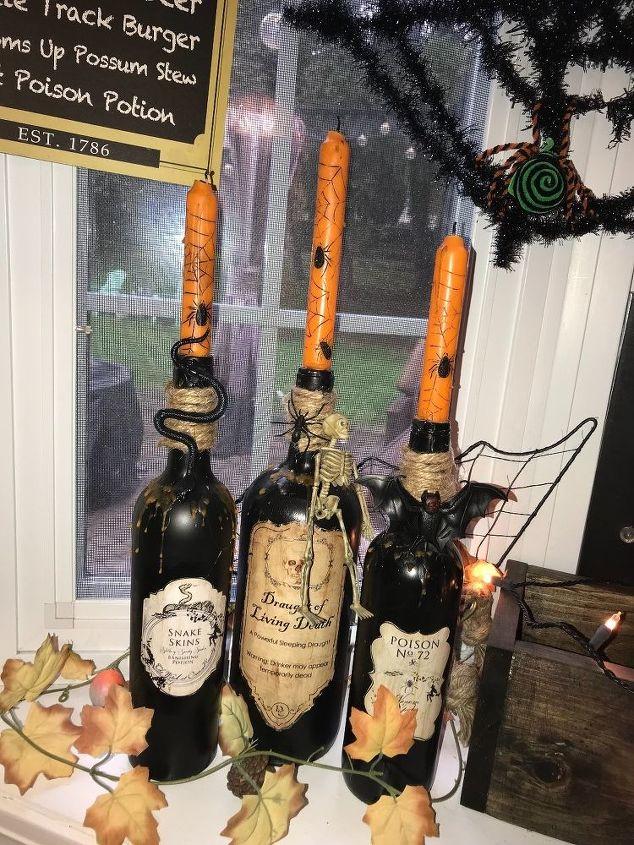 halloween wine bottles decor