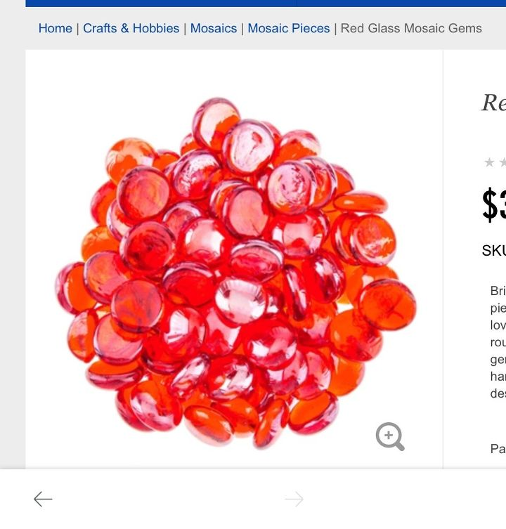 q where to find glass gems that are actual red glass and not coated