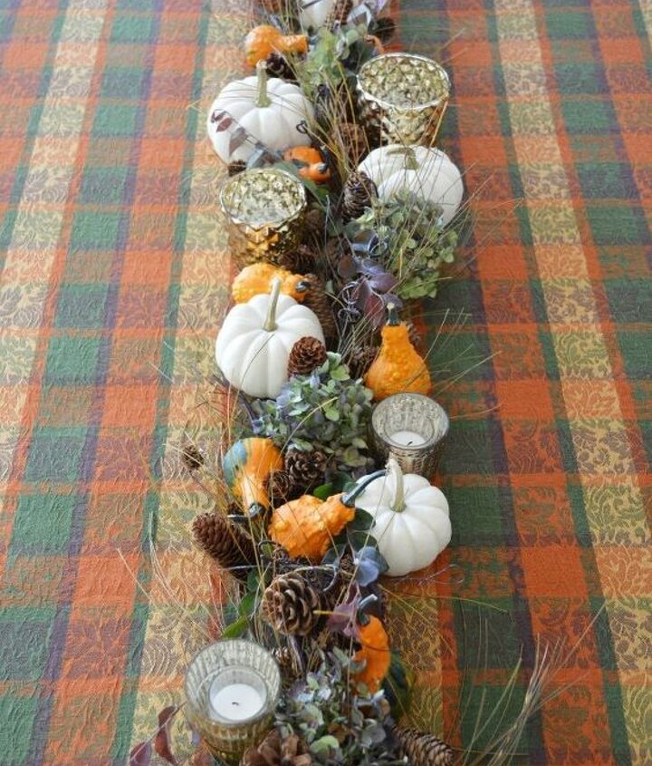 transform a christmas garland into a fall table runner and centerpiece