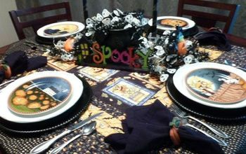 spooky halloween tablescape with lights