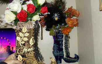 dollartree witch boot into victorian boot wall display