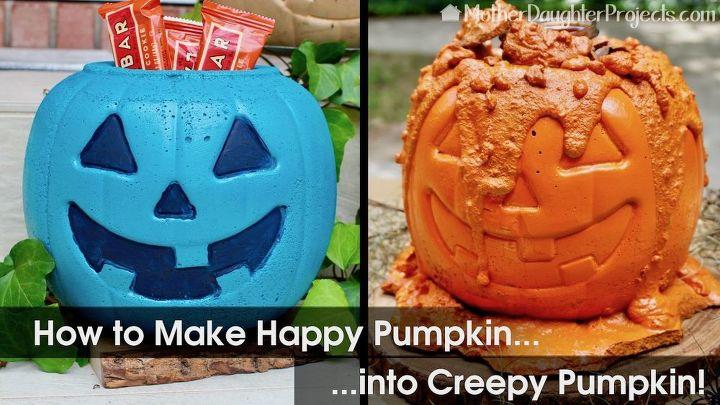how to make a creepy concrete pumpkin